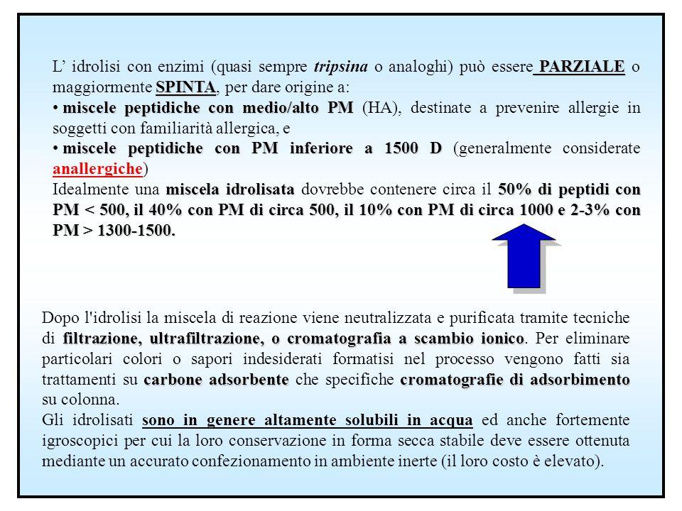 PARZIALE SPINTA L' idrolisi con enzimi (quasi sempre tripsina o analoghi) può essere PARZIALE o maggiormente SPINTA, per dare origine a: miscele pepti