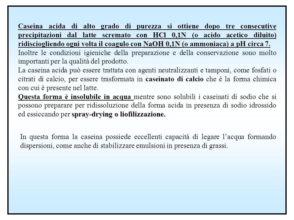 HCl 0,1N NaOH 0,1N Caseina acida di alto grado di purezza si ottiene dopo tre consecutive precipitazioni dal latte scremato con HCl 0,1N (o acido acet