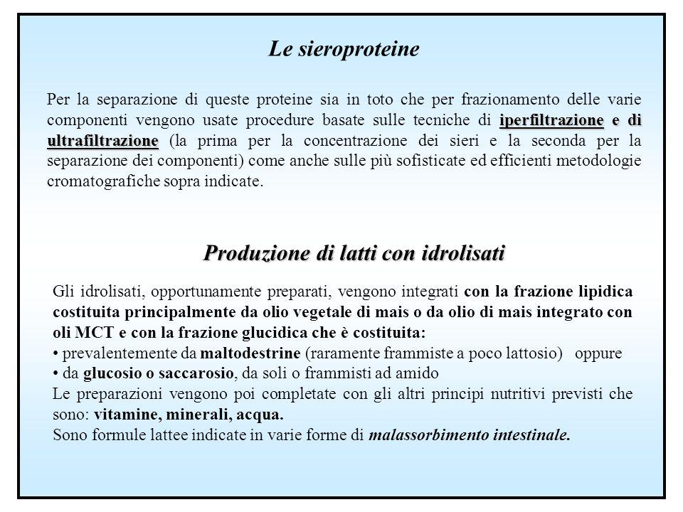 Le sieroproteine iperfiltrazione e di ultrafiltrazione Per la separazione di queste proteine sia in toto che per frazionamento delle varie componenti