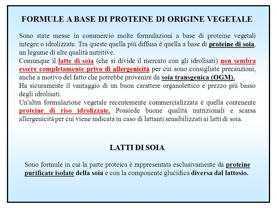 FORMULE A BASE DI PROTEINE DI ORIGINE VEGETALE proteine di soia Sono state messe in commercio molte formulazioni a base di proteine vegetali integre o