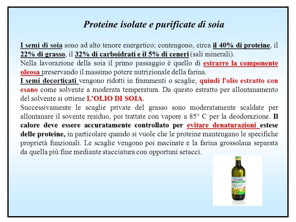 Proteine isolate e purificate di soia il 40% di proteine 22% di grasso32% di carboidrati e il 5% di ceneri I semi di soia sono ad alto tenore energeti