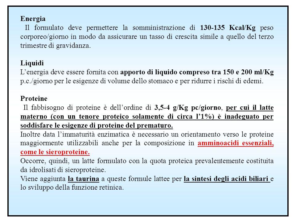 Energia Il formulato deve permettere la somministrazione di 130-135 Kcal/Kg peso corporeo/giorno in modo da assicurare un tasso di crescita simile a q