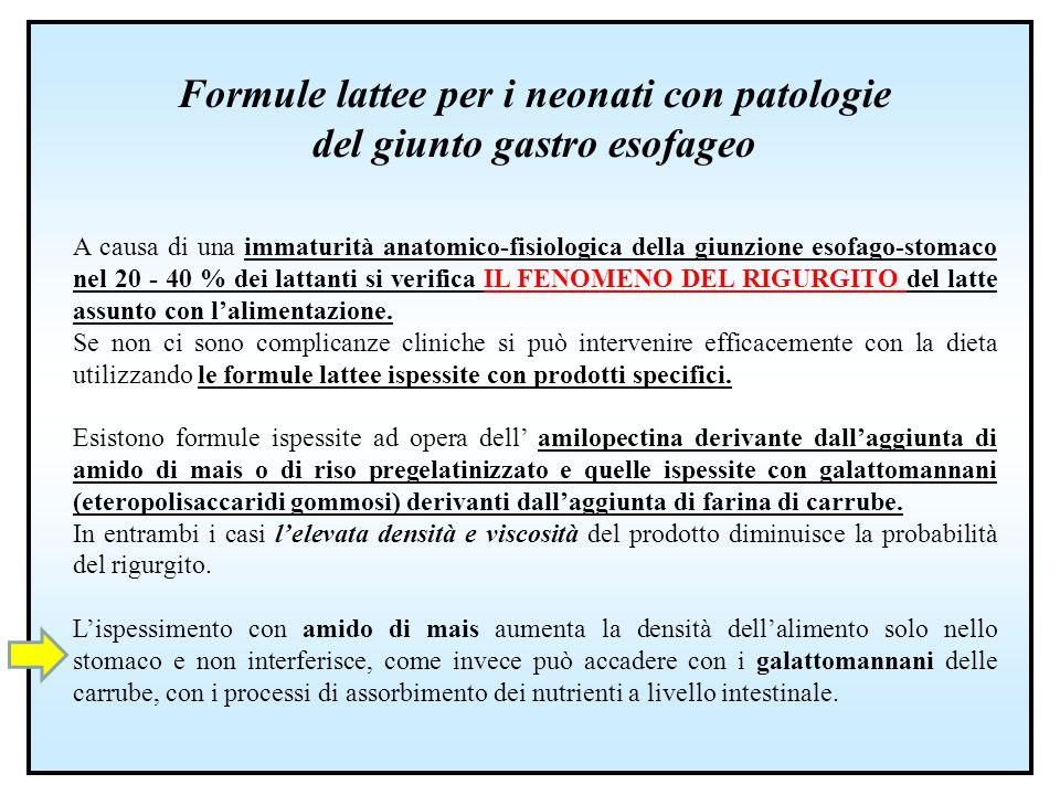 Formule lattee per i neonati con patologie del giunto gastro esofageo A causa di una immaturità anatomico-fisiologica della giunzione esofago-stomaco