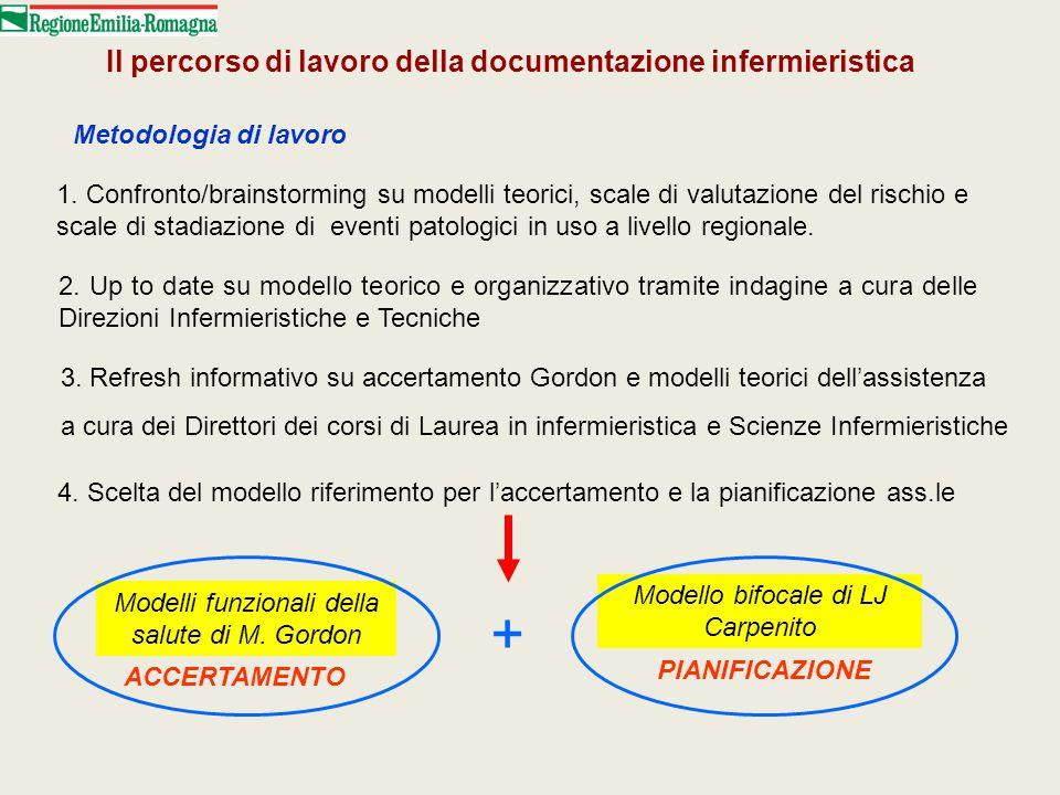 Il percorso di lavoro della documentazione infermieristica Metodologia di lavoro 1. Confronto/brainstorming su modelli teorici, scale di valutazione d