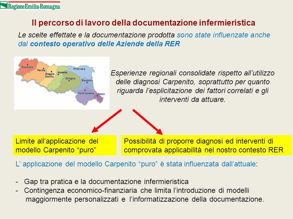 Le scelte effettate e la documentazione prodotta sono state influenzate anche dal contesto operativo delle Aziende della RER Il percorso di lavoro del