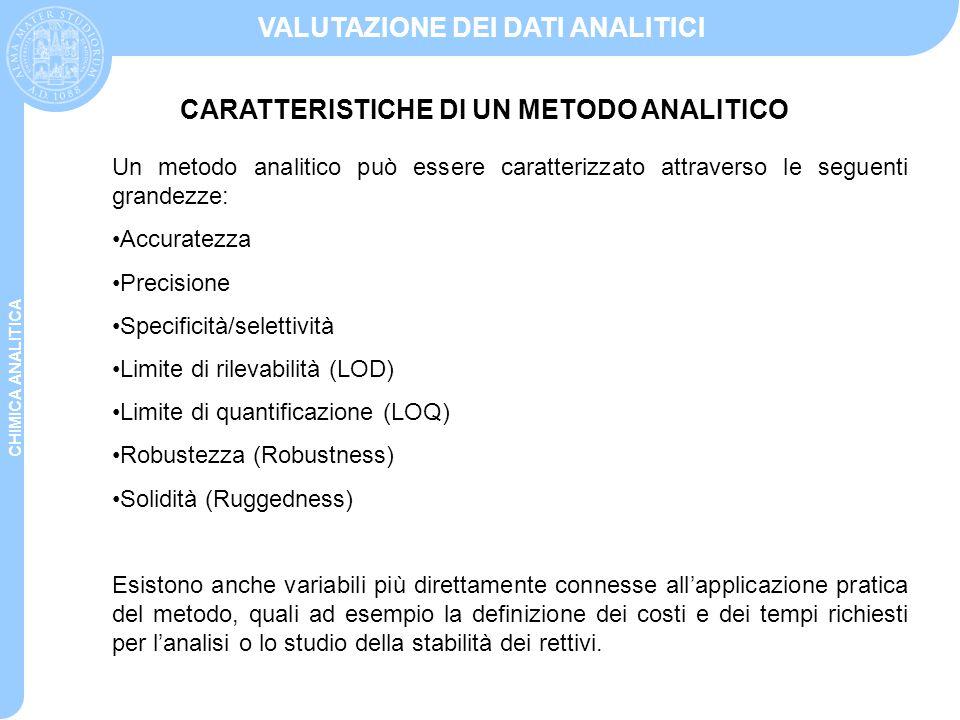 CHIMICA ANALITICA VALUTAZIONE DEI DATI ANALITICI Un metodo analitico può essere caratterizzato attraverso le seguenti grandezze: Accuratezza Precision