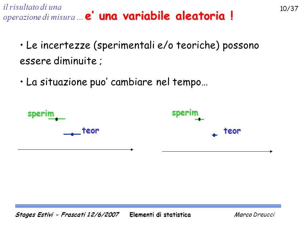 il risultato di una operazione di misura … e' una variabile aleatoria .