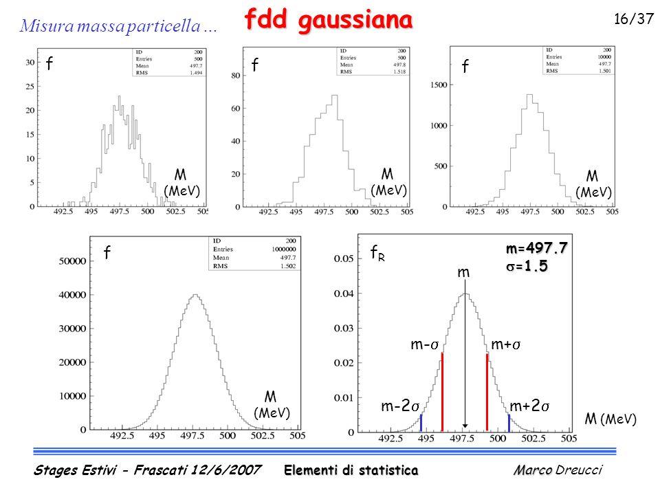 Misura massa particella … fdd gaussiana M (MeV) f f M (MeV) f M (MeV) M (MeV) f fRfR m=497.7  =1.5 m+  m+2  m-  m-2  m M (MeV) Elementi di statistica Marco Stages Estivi - Frascati 12/6/2007 Elementi di statistica Marco Dreucci 16/37
