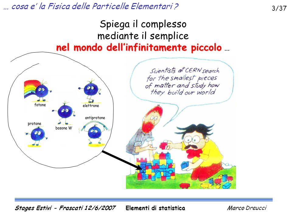 Allungamento di una molla (II) Ma esistono vari programmini … Elementi di statistica Marco Stages Estivi - Frascati 12/6/2007 Elementi di statistica Marco Dreucci 24/37
