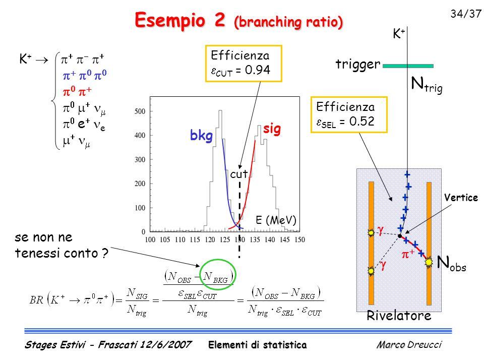 Esempio 2 (branching ratio) sig bkg cut Efficienza  CUT  = 0.94 E (MeV) K +                           e   e     trigger Rivelatore Efficienza  SEL  = 0.52 N trig N obs Vertice K+K+    se non ne tenessi conto .