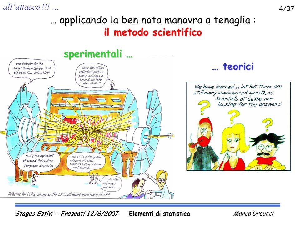 piu' son piccoli … Elementi di statistica Marco Stages Estivi - Frascati 12/6/2007 Elementi di statistica Marco Dreucci 5/37