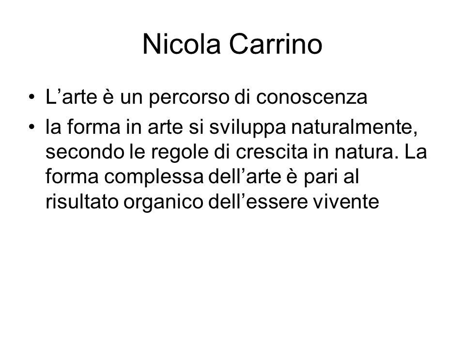 Nicola Carrino L'arte è un percorso di conoscenza la forma in arte si sviluppa naturalmente, secondo le regole di crescita in natura. La forma comples