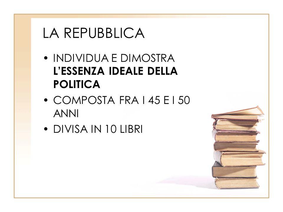 LA REPUBBLICA INDIVIDUA E DIMOSTRA L'ESSENZA IDEALE DELLA POLITICA COMPOSTA FRA I 45 E I 50 ANNI DIVISA IN 10 LIBRI