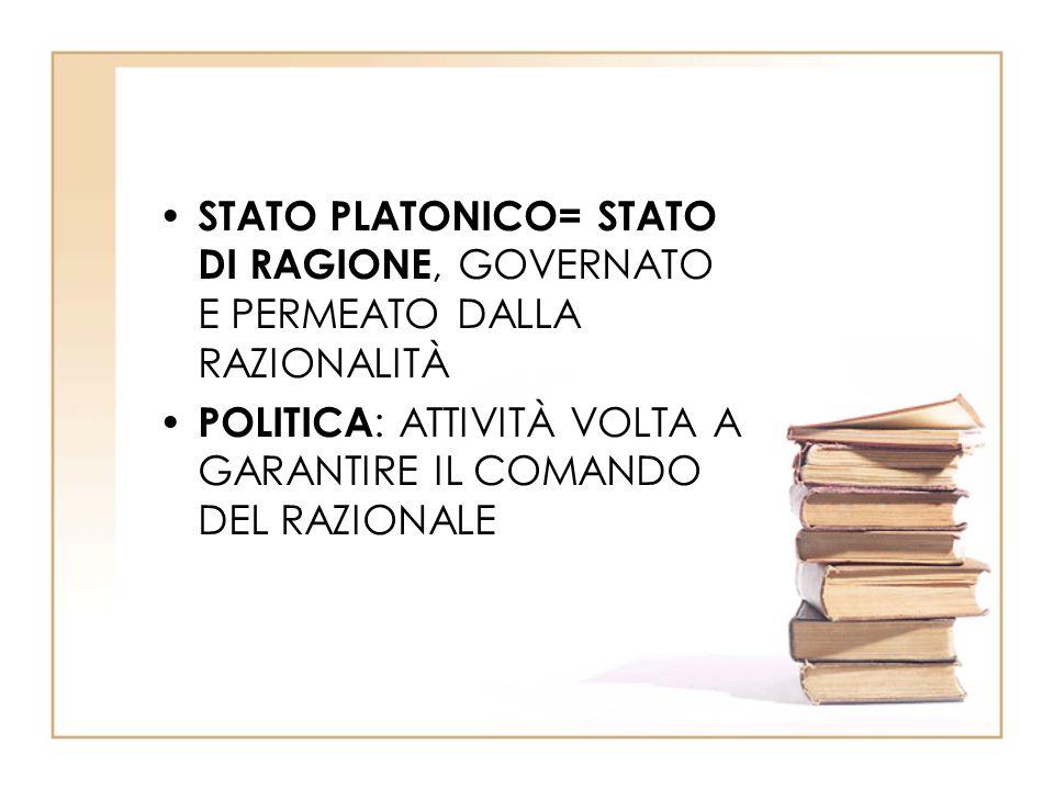 STATO PLATONICO= STATO DI RAGIONE, GOVERNATO E PERMEATO DALLA RAZIONALITÀ POLITICA : ATTIVITÀ VOLTA A GARANTIRE IL COMANDO DEL RAZIONALE