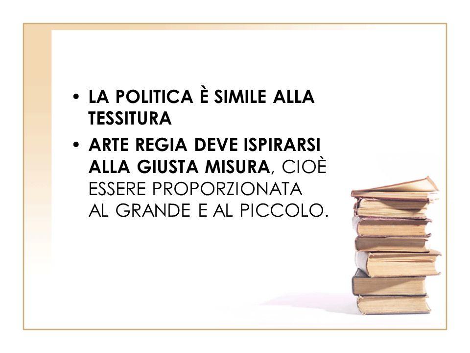 LA POLITICA È SIMILE ALLA TESSITURA ARTE REGIA DEVE ISPIRARSI ALLA GIUSTA MISURA, CIOÈ ESSERE PROPORZIONATA AL GRANDE E AL PICCOLO.