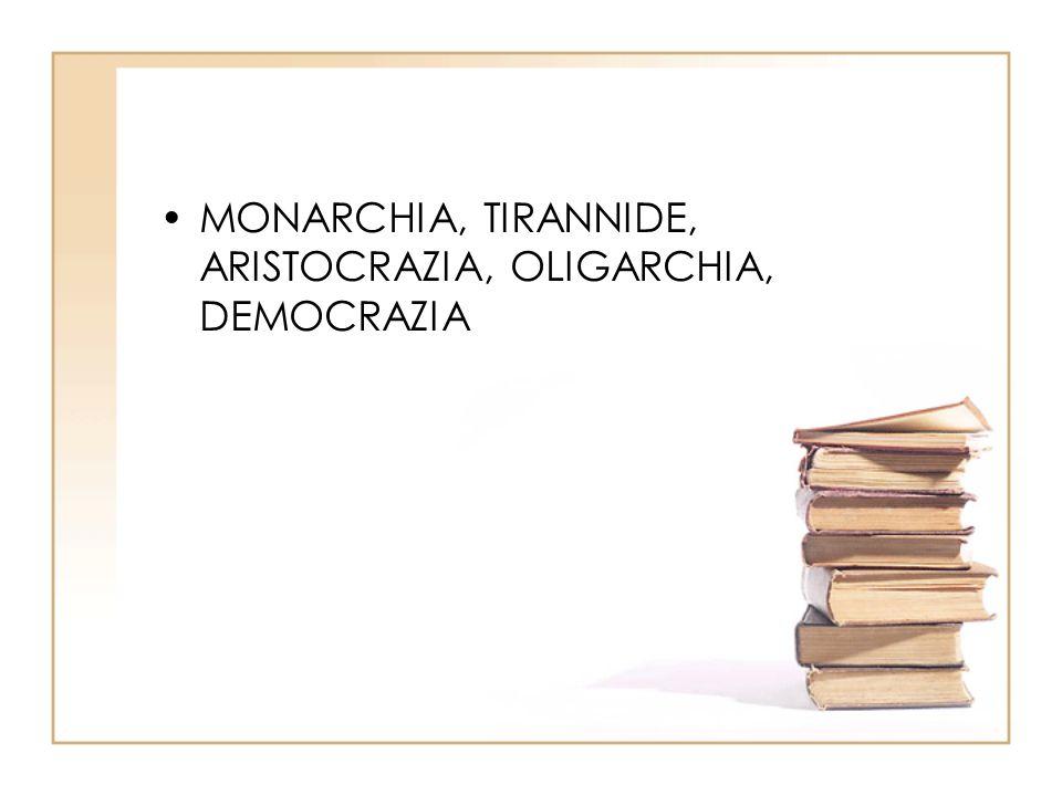 MONARCHIA, TIRANNIDE, ARISTOCRAZIA, OLIGARCHIA, DEMOCRAZIA