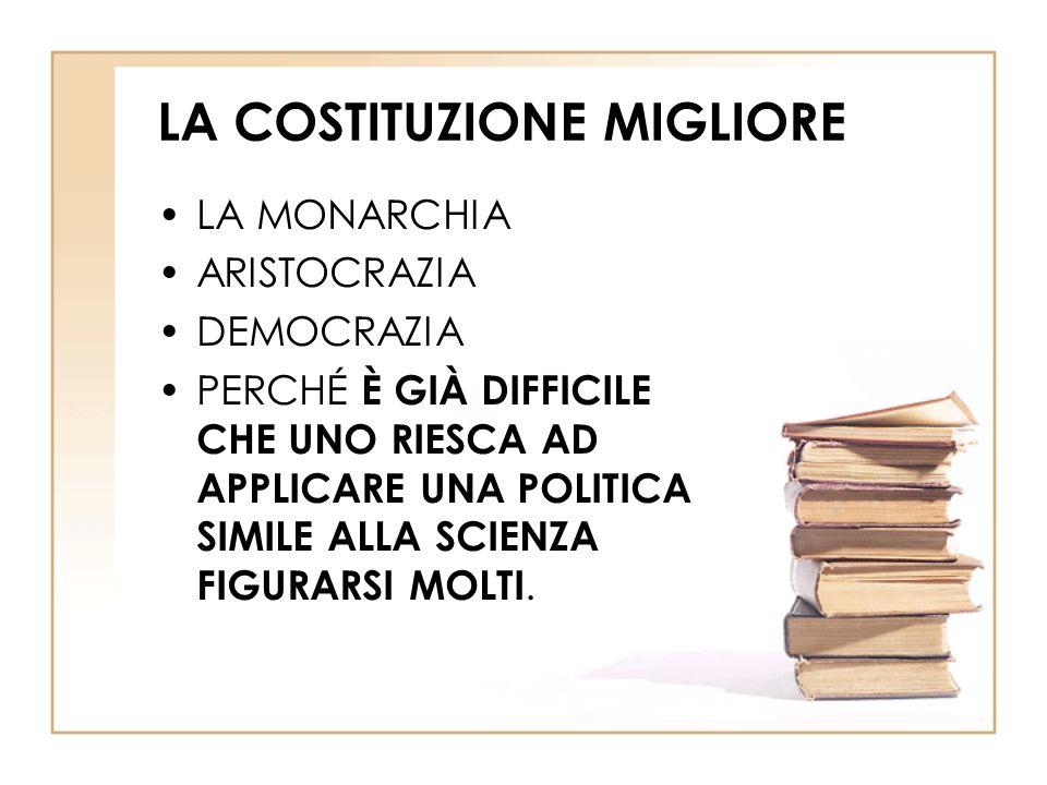 LA COSTITUZIONE MIGLIORE LA MONARCHIA ARISTOCRAZIA DEMOCRAZIA PERCHÉ È GIÀ DIFFICILE CHE UNO RIESCA AD APPLICARE UNA POLITICA SIMILE ALLA SCIENZA FIGURARSI MOLTI.
