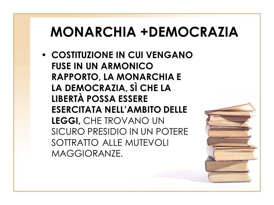 MONARCHIA +DEMOCRAZIA COSTITUZIONE IN CUI VENGANO FUSE IN UN ARMONICO RAPPORTO, LA MONARCHIA E LA DEMOCRAZIA, SÌ CHE LA LIBERTÀ POSSA ESSERE ESERCITATA NELL'AMBITO DELLE LEGGI, CHE TROVANO UN SICURO PRESIDIO IN UN POTERE SOTTRATTO ALLE MUTEVOLI MAGGIORANZE.
