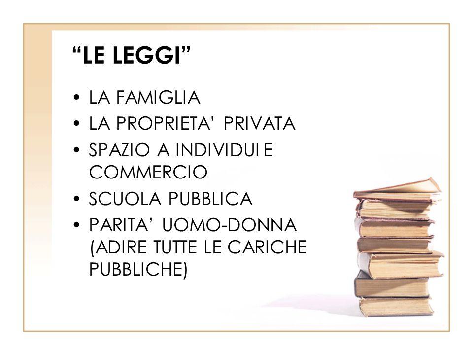 LE LEGGI LA FAMIGLIA LA PROPRIETA' PRIVATA SPAZIO A INDIVIDUI E COMMERCIO SCUOLA PUBBLICA PARITA' UOMO-DONNA (ADIRE TUTTE LE CARICHE PUBBLICHE)