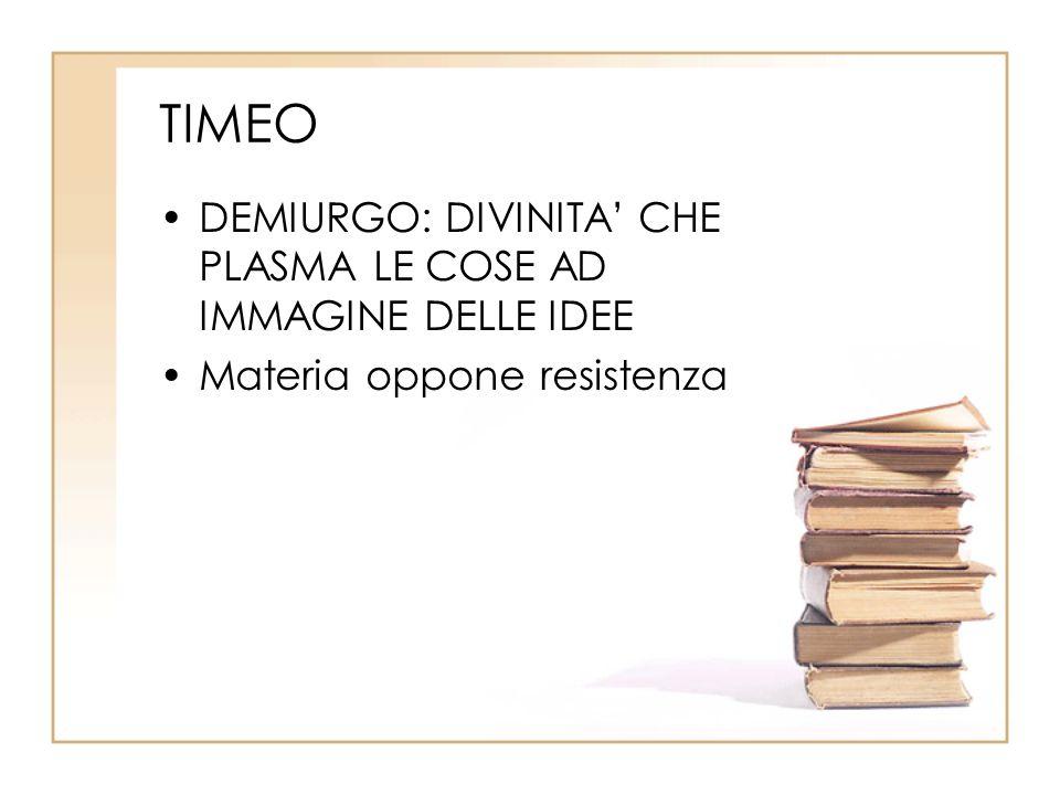 TIMEO DEMIURGO: DIVINITA' CHE PLASMA LE COSE AD IMMAGINE DELLE IDEE Materia oppone resistenza