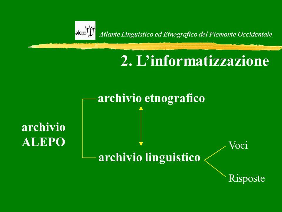 Atlante Linguistico ed Etnografico del Piemonte Occidentale 2. L'informatizzazione archivio ALEPO archivio linguistico archivio etnografico Risposte V