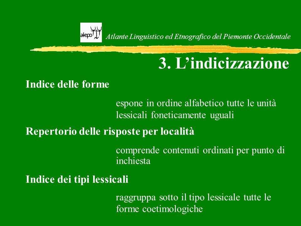 Atlante Linguistico ed Etnografico del Piemonte Occidentale 3. L'indicizzazione Indice delle forme espone in ordine alfabetico tutte le unità lessical