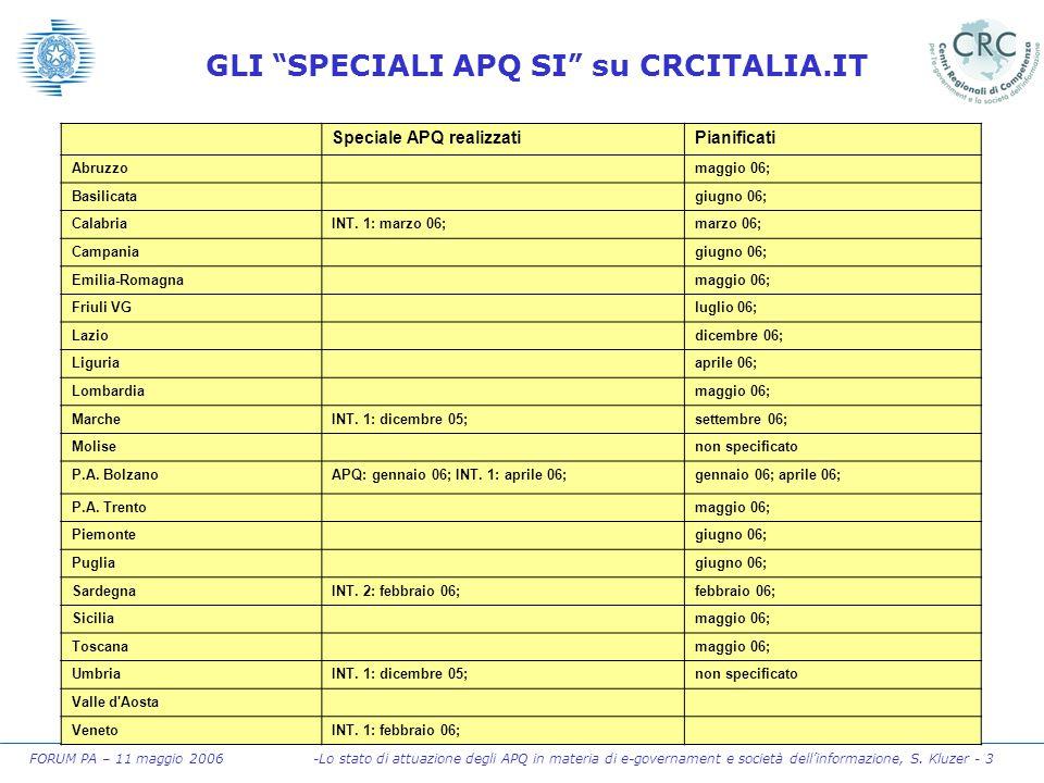 """FORUM PA – 11 maggio 2006 -Lo stato di attuazione degli APQ in materia di e-governament e società dell'informazione, S. Kluzer - 3 GLI """" SPECIALI APQ"""