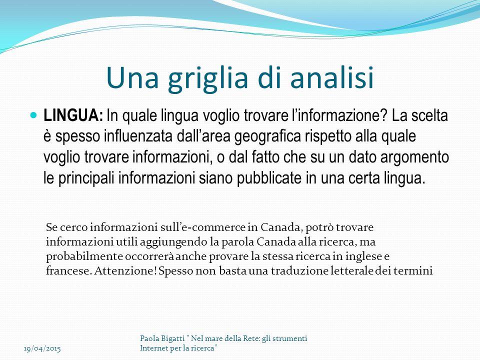 Una griglia di analisi LINGUA: In quale lingua voglio trovare l'informazione? La scelta è spesso influenzata dall'area geografica rispetto alla quale
