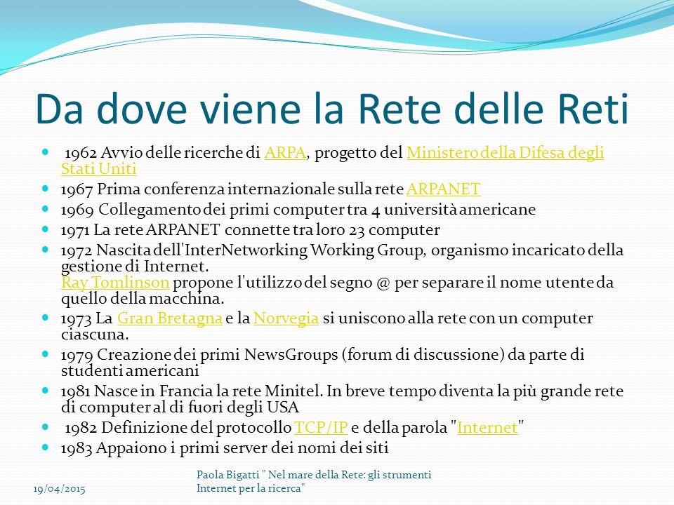 Da dove viene la Rete delle Reti 1984 La rete conta ormai mille computer collegati 1986 Nasce cnr.it , il primo dominio con la denominazione geografica dell Italia.