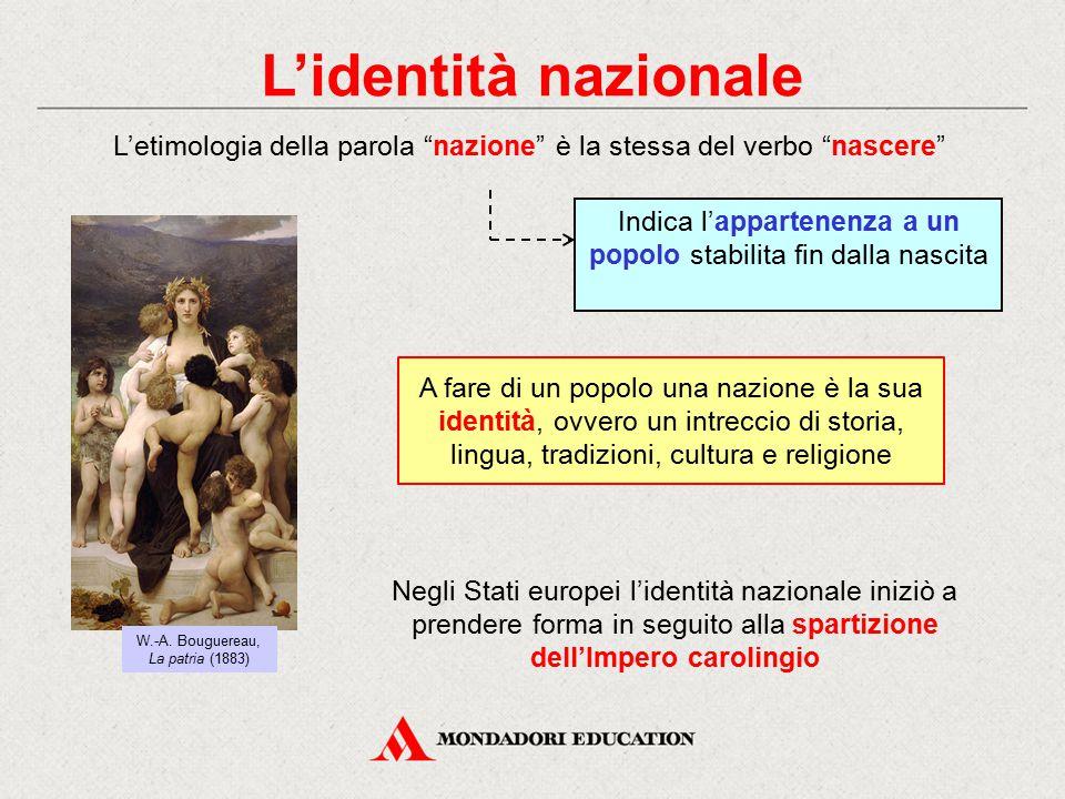 L'identità nazionale L'etimologia della parola nazione è la stessa del verbo nascere W.-A.
