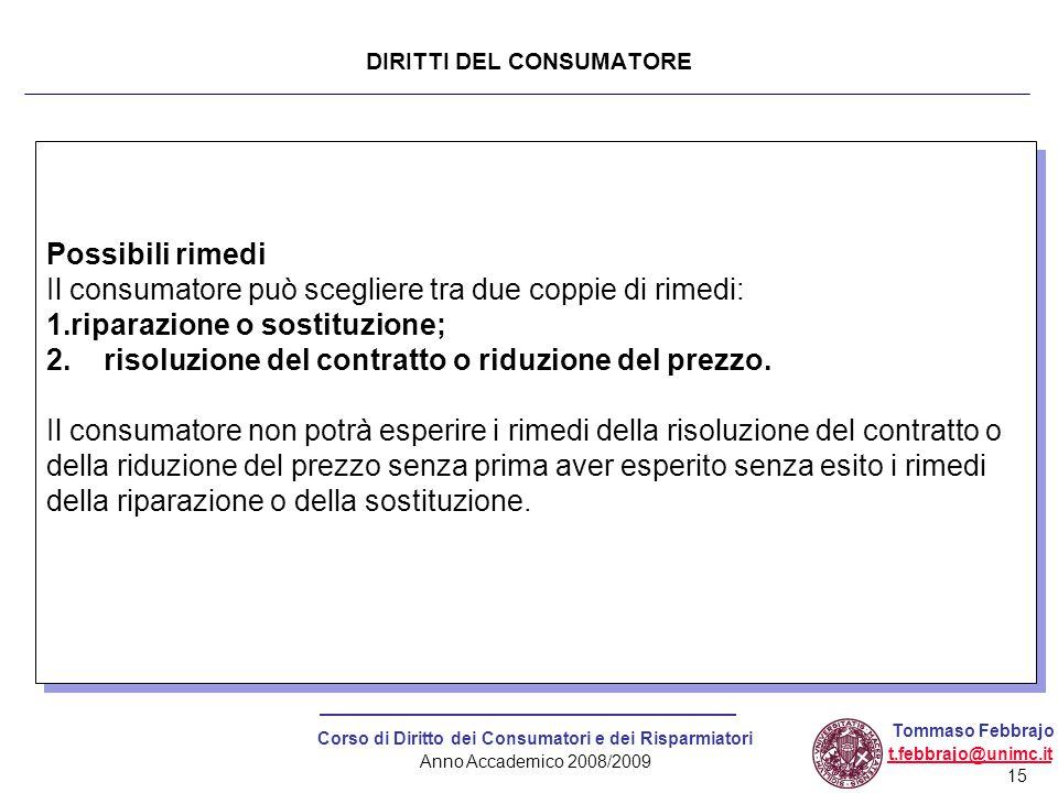 15 Corso di Diritto dei Consumatori e dei Risparmiatori Anno Accademico 2008/2009 Tommaso Febbrajo t.febbrajo@unimc.it Possibili rimedi Il consumatore