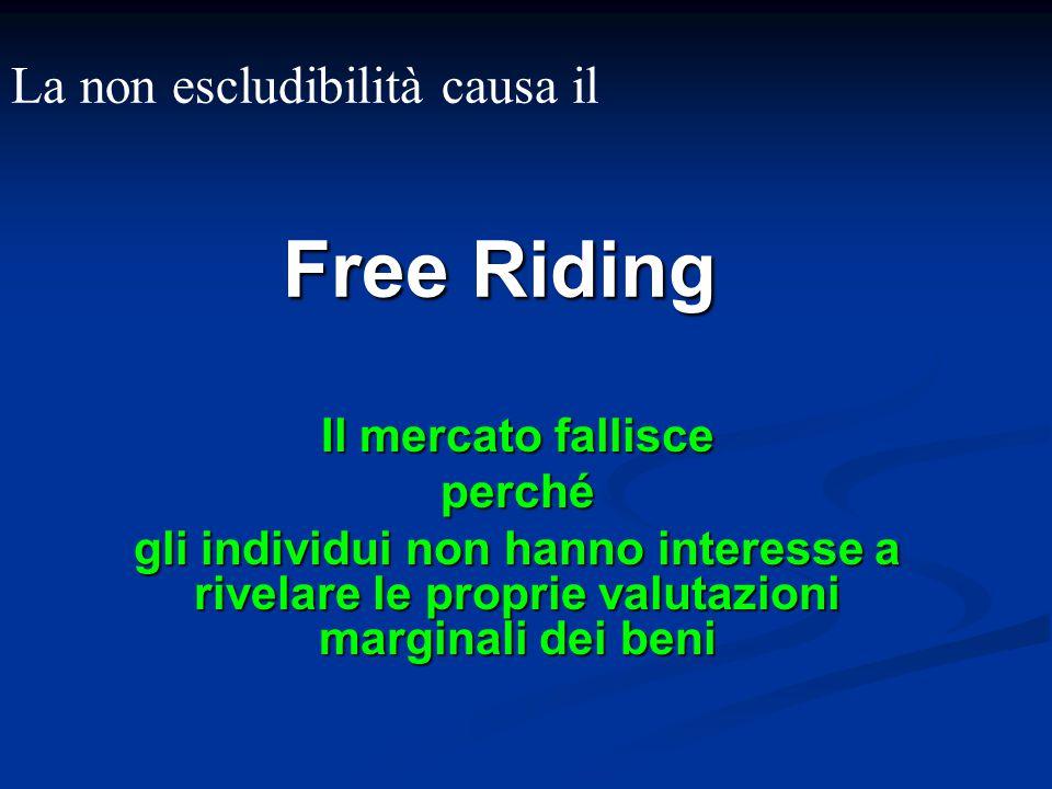 Free Riding Il mercato fallisce perché gli individui non hanno interesse a rivelare le proprie valutazioni marginali dei beni La non escludibilità cau