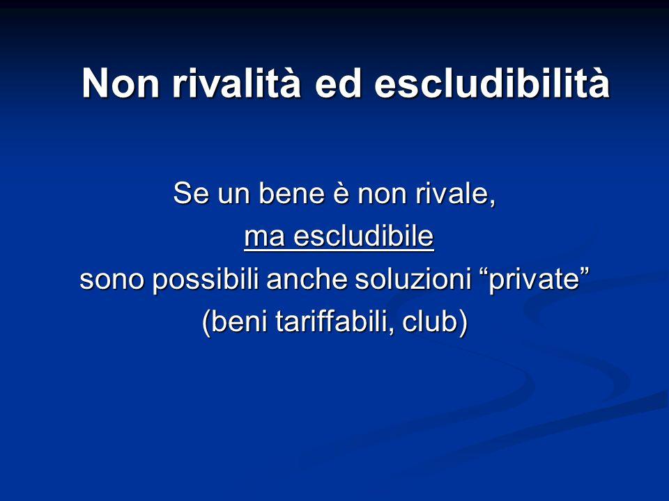 """Non rivalità ed escludibilità Se un bene è non rivale, ma escludibile ma escludibile sono possibili anche soluzioni """"private"""" (beni tariffabili, club)"""