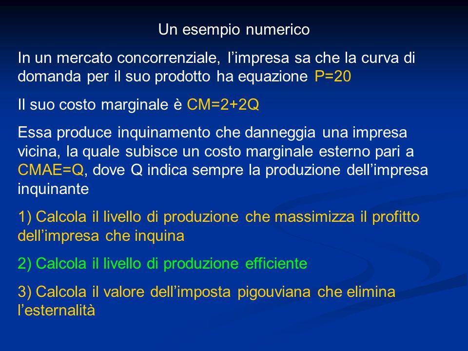 Un esempio numerico In un mercato concorrenziale, l'impresa sa che la curva di domanda per il suo prodotto ha equazione P=20 Il suo costo marginale è