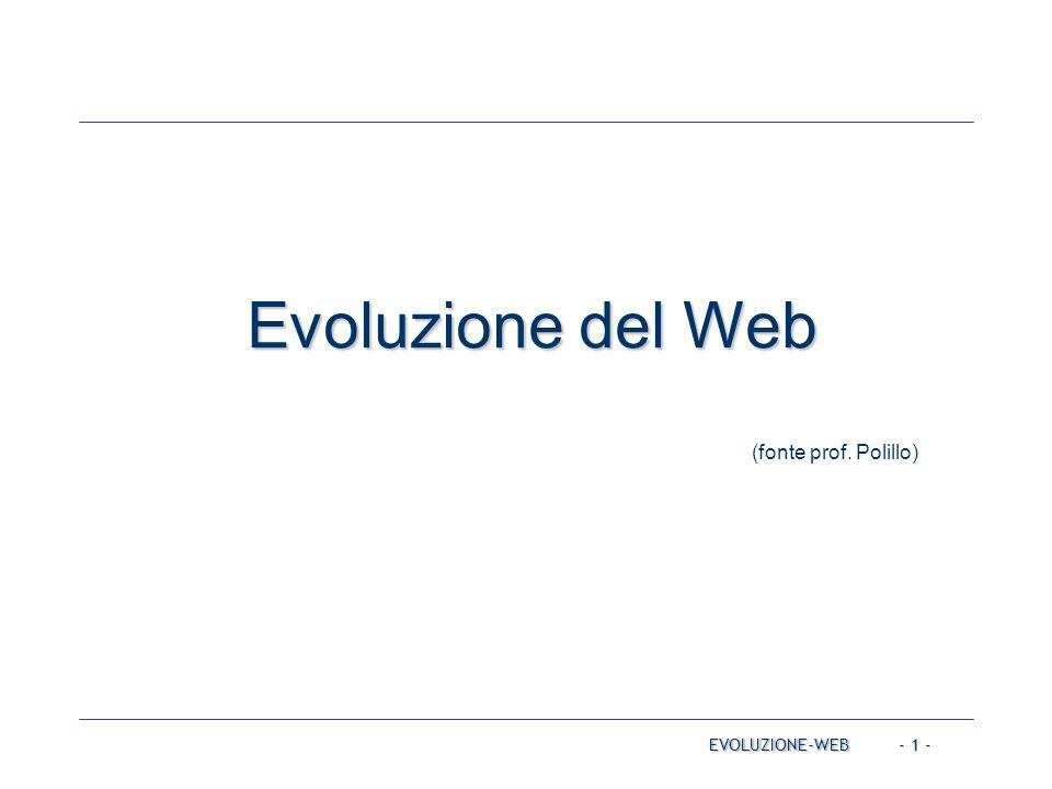 - 22 - Web 2.0 EVOLUZIONE-WEB Social media: L utente diventa protagonista Forte interazione tra utenti: comunicazione uno-a-molti (blog) e molti-a-molti (social media) Servizi che permettono agli utenti di caricare contenuti (UGC, User generated content) e di condividerli con altri utenti Creazione collettiva User rating nell e-commerce Il Web come piattaforma di elaborazione: Servizi erogati dalla rete, virtualizzazione Perpetuale beta Mashup di componenti e di servizi per realizzare nuove applicazioni Rich Internet Applications (RIA)