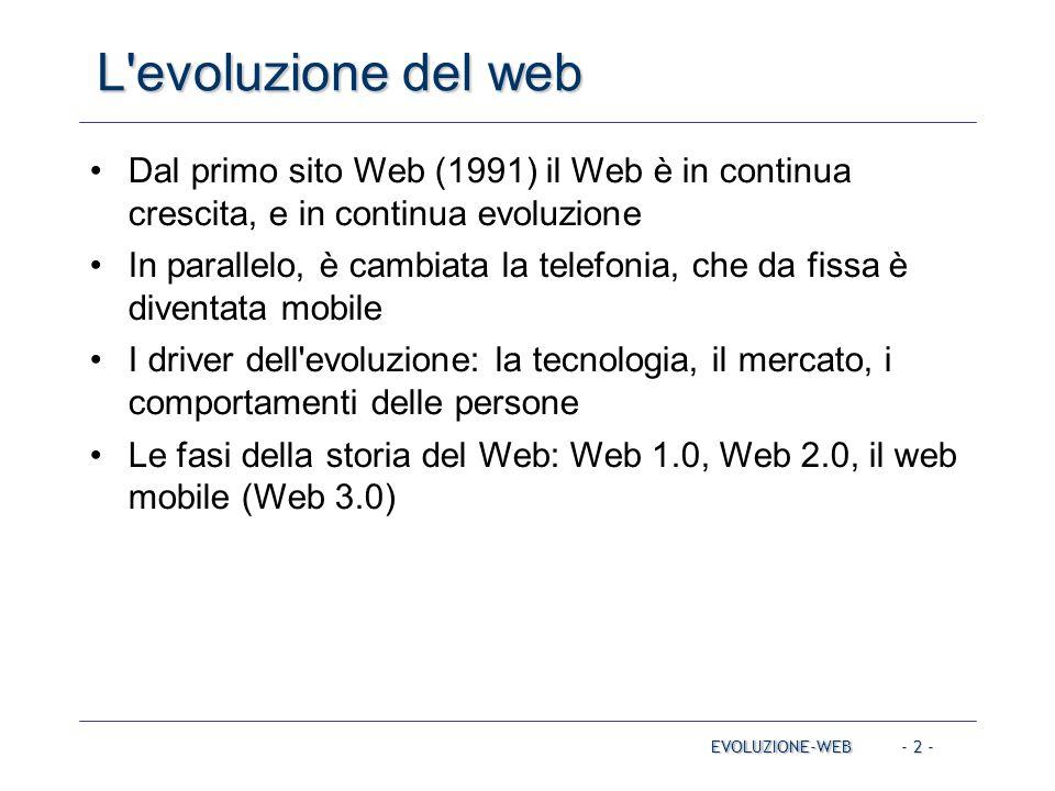- 2 - L'evoluzione del web EVOLUZIONE-WEB Dal primo sito Web (1991) il Web è in continua crescita, e in continua evoluzione In parallelo, è cambiata l