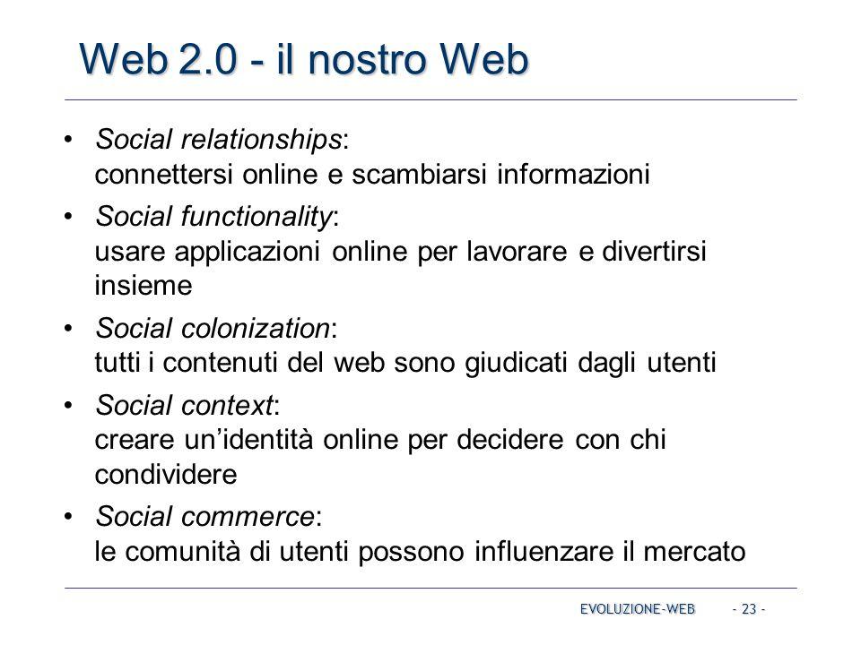 - 23 - Web 2.0 - il nostro Web EVOLUZIONE-WEB Social relationships: connettersi online e scambiarsi informazioni Social functionality: usare applicazi