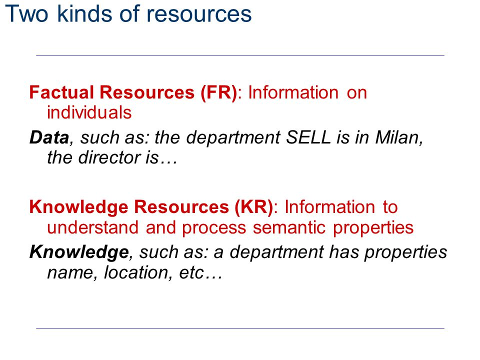 32 Two kinds of resources Factual Resources (FR): Information on individuals Data, such as: the department SELL is in Milan, the director is… Knowledg