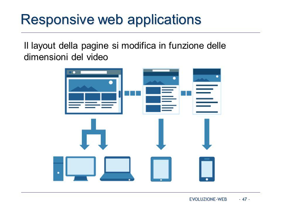 - 47 - Responsive web applications EVOLUZIONE-WEB Il layout della pagine si modifica in funzione delle dimensioni del video
