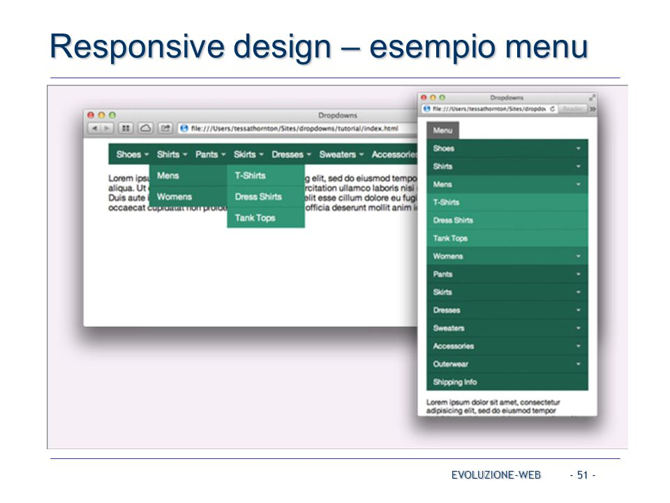- 51 - Responsive design – esempio menu EVOLUZIONE-WEB