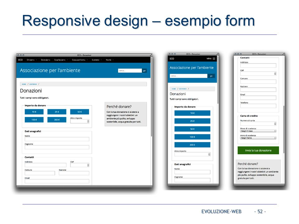 - 52 - Responsive design – esempio form EVOLUZIONE-WEB