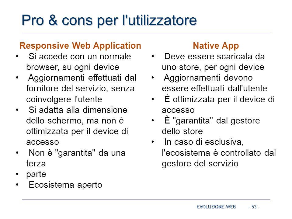 - 53 - Pro & cons per l'utilizzatore EVOLUZIONE-WEB Responsive Web Application Si accede con un normale browser, su ogni device Aggiornamenti effettua