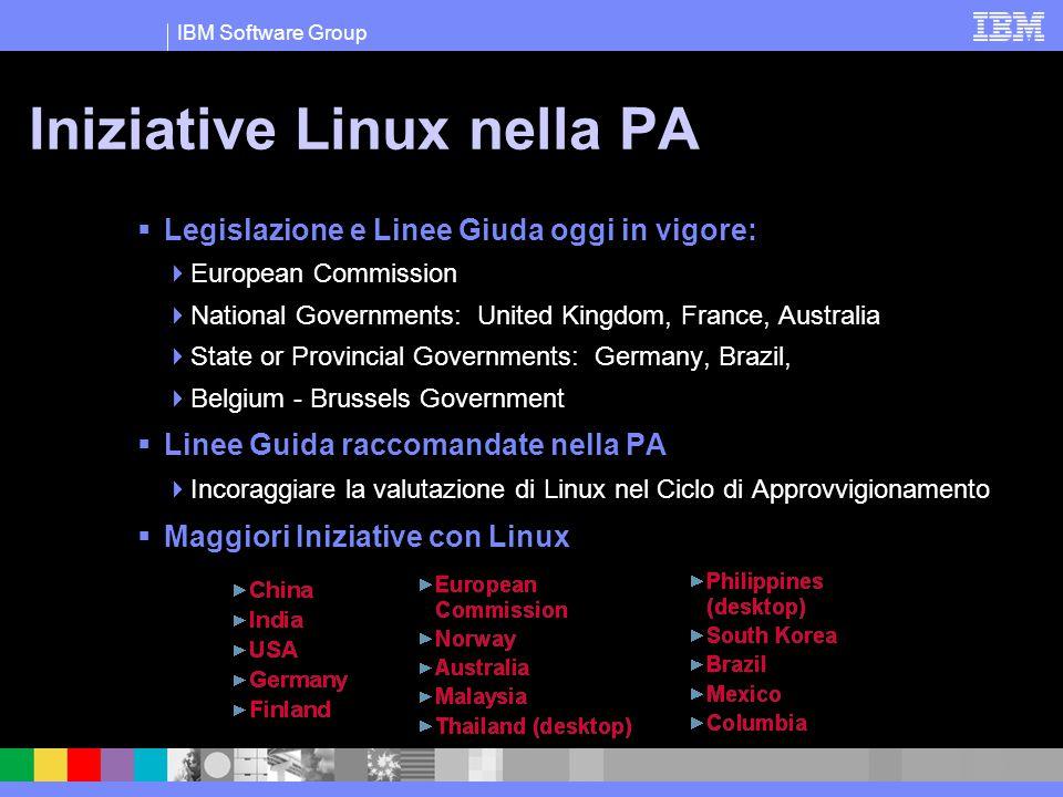 IBM Software Group Iniziative Linux nella PA  Legislazione e Linee Giuda oggi in vigore:  European Commission  National Governments: United Kingdom