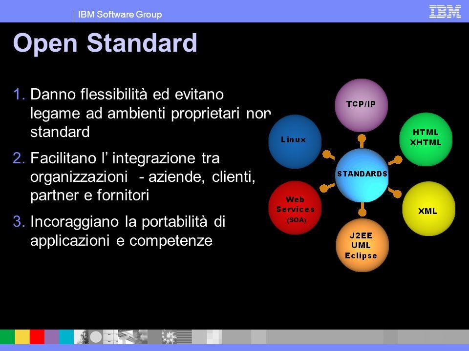 IBM Software Group Open Standard 1.Danno flessibilità ed evitano legame ad ambienti proprietari non standard 2.Facilitano l' integrazione tra organizz