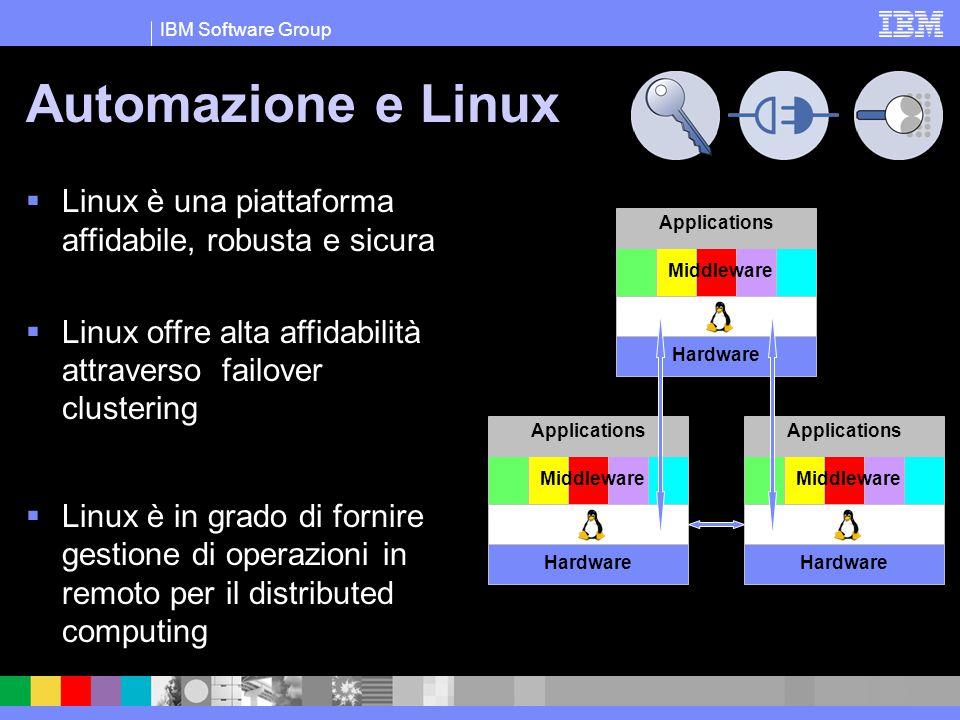IBM Software Group Automazione e Linux  Linux è una piattaforma affidabile, robusta e sicura  Linux offre alta affidabilità attraverso failover clus