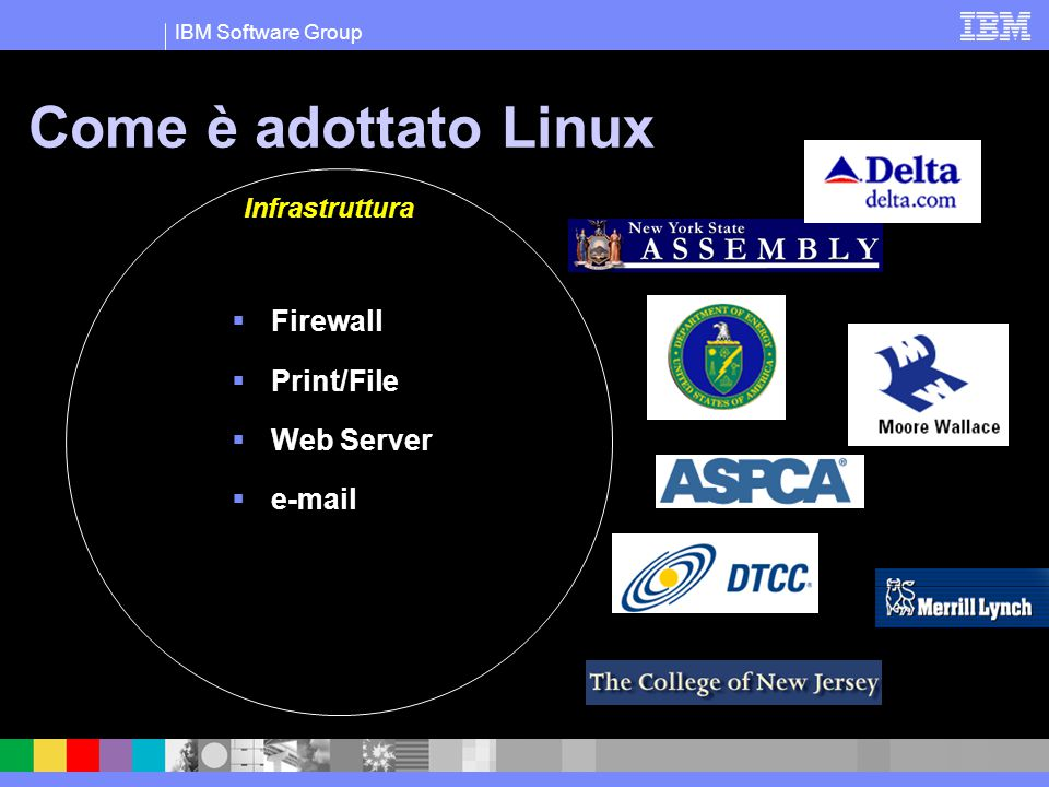 IBM Software Group Come è adottato Linux Infrastruttura  Firewall  Print/File  Web Server  e-mail