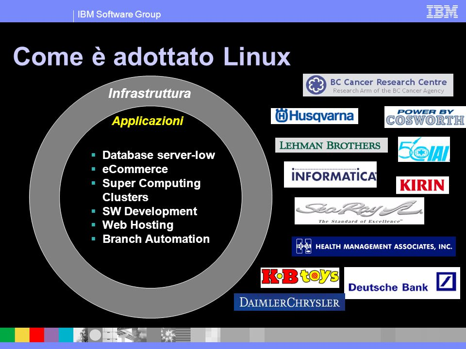 IBM Software Group Come è adottato Linux Infrastruttura Applicazioni  Database server-low  eCommerce  Super Computing Clusters  SW Development  W