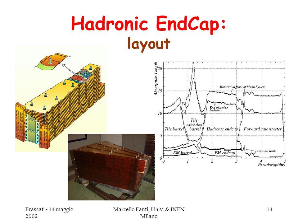 Frascati - 14 maggio 2002 Marcello Fanti, Univ. & INFN Milano 14 Hadronic EndCap: layout