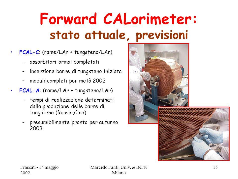 Frascati - 14 maggio 2002 Marcello Fanti, Univ. & INFN Milano 15 Forward CALorimeter: stato attuale, previsioni FCAL-C: (rame/LAr + tungsteno/LAr) –as
