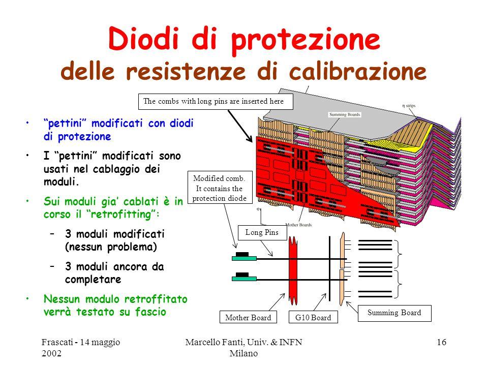 """Frascati - 14 maggio 2002 Marcello Fanti, Univ. & INFN Milano 16 Diodi di protezione delle resistenze di calibrazione """"pettini"""" modificati con diodi d"""